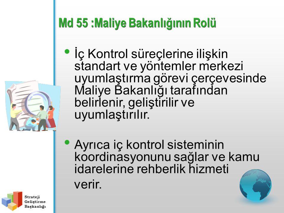 Md 55 :Maliye Bakanlığının Rolü İç Kontrol süreçlerine ilişkin standart ve yöntemler merkezi uyumlaştırma görevi çerçevesinde Maliye Bakanlığı tarafından belirlenir, geliştirilir ve uyumlaştırılır.