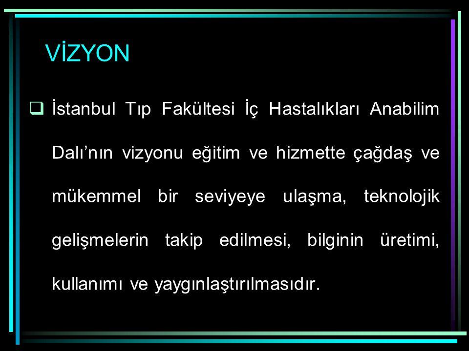 VİZYON  İstanbul Tıp Fakültesi İç Hastalıkları Anabilim Dalı'nın vizyonu eğitim ve hizmette çağdaş ve mükemmel bir seviyeye ulaşma, teknolojik gelişm
