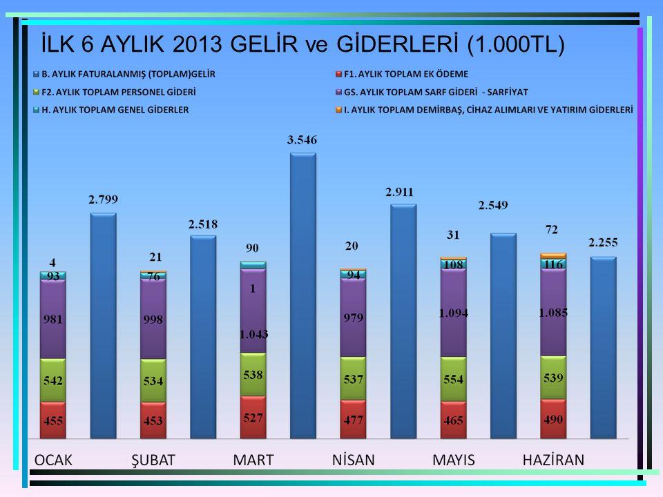 İLK 6 AYLIK 2013 GELİR ve GİDERLERİ (1.000TL)