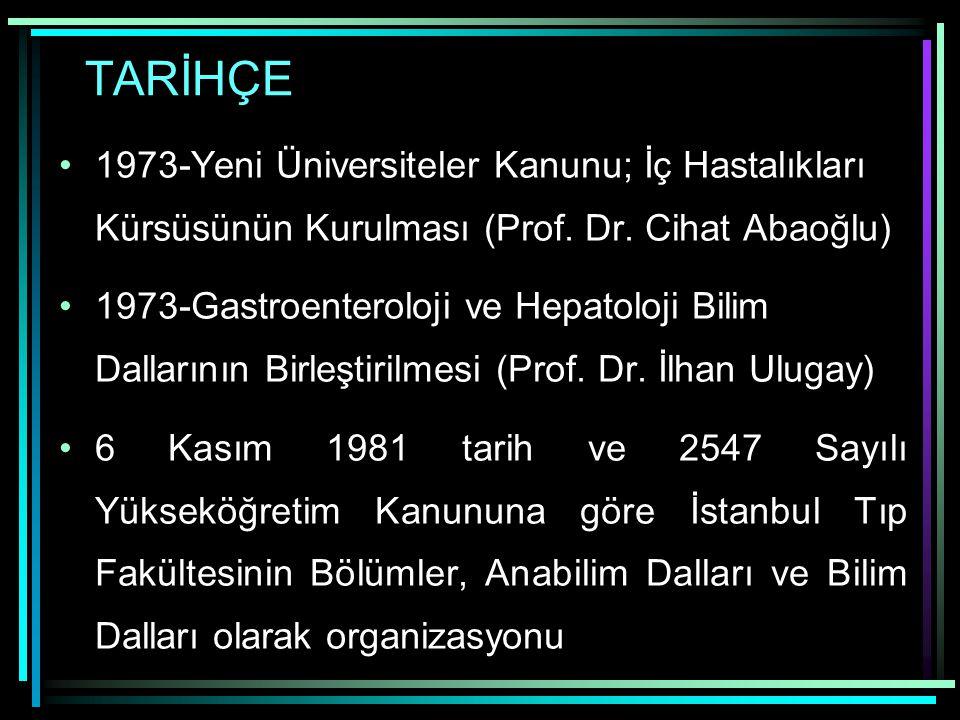 TARİHÇE 1973-Yeni Üniversiteler Kanunu; İç Hastalıkları Kürsüsünün Kurulması (Prof. Dr. Cihat Abaoğlu) 1973-Gastroenteroloji ve Hepatoloji Bilim Dalla