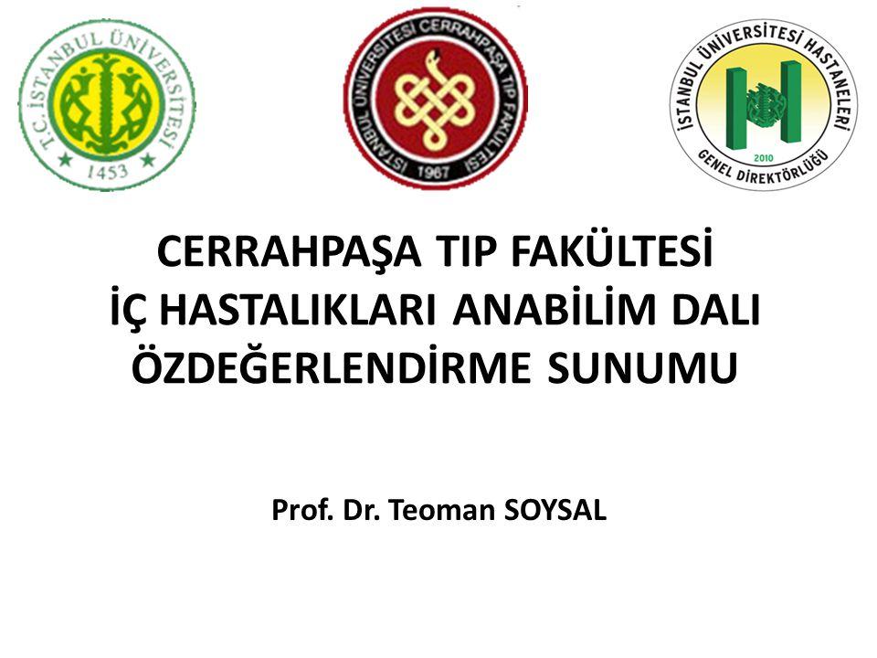 CERRAHPAŞA TIP FAKÜLTESİ İÇ HASTALIKLARI ANABİLİM DALI ÖZDEĞERLENDİRME SUNUMU Prof. Dr. Teoman SOYSAL