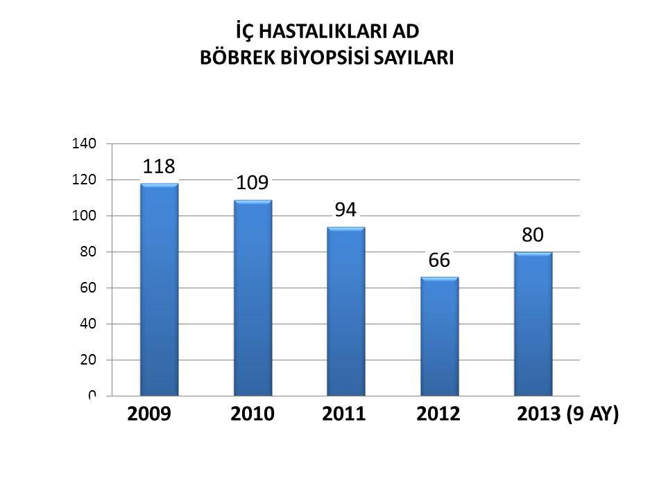 İÇ HASTALIKLARI AD BÖBREK BİYOPSİSİ SAYILARI 20092010 2011 2012 2013 (9 AY)