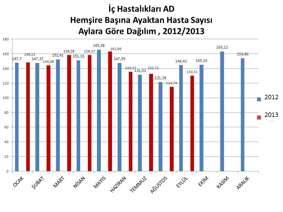 2012 2013 İç Hastalıkları AD Hemşire Başına Ayaktan Hasta Sayısı Aylara Göre Dağılım, 2012/2013