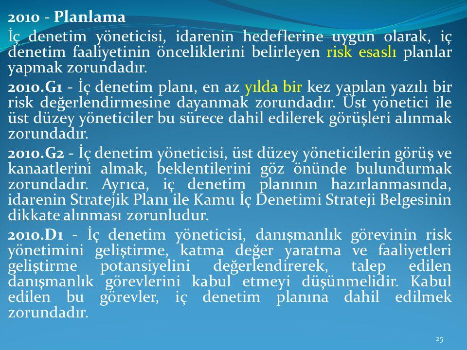 2010 - Planlama İç denetim yöneticisi, idarenin hedeflerine uygun olarak, iç denetim faaliyetinin önceliklerini belirleyen risk esaslı planlar yapmak