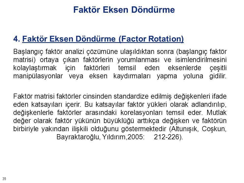 35 Faktör Eksen Döndürme 4. Faktör Eksen Döndürme (Factor Rotation) Başlangıç faktör analizi çözümüne ulaşıldıktan sonra (başlangıç faktör matrisi) or