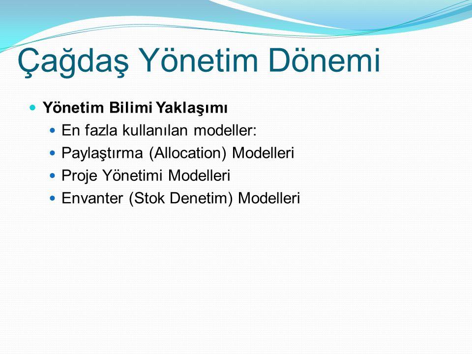Çağdaş Yönetim Dönemi Yönetim Bilimi Yaklaşımı En fazla kullanılan modeller: Paylaştırma (Allocation) Modelleri Proje Yönetimi Modelleri Envanter (Sto
