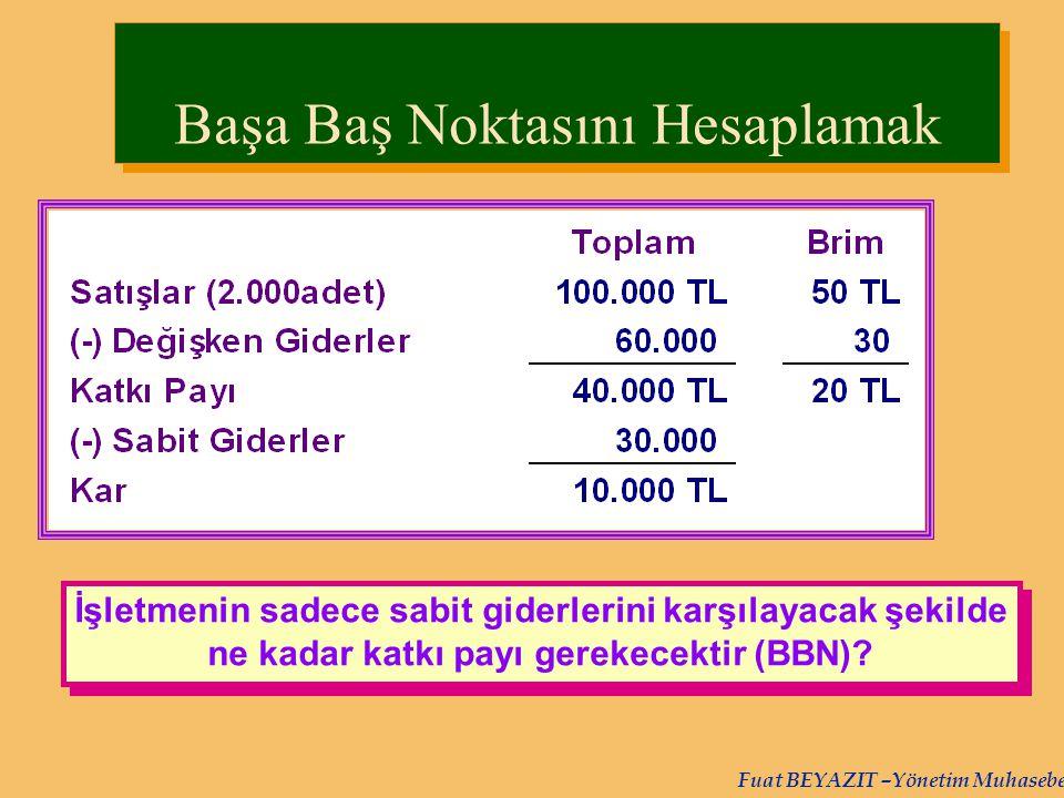 Fuat BEYAZIT –Yönetim Muhasebesi İşletmenin sadece sabit giderlerini karşılayacak şekilde ne kadar katkı payı gerekecektir (BBN)? Başa Baş Noktasını H