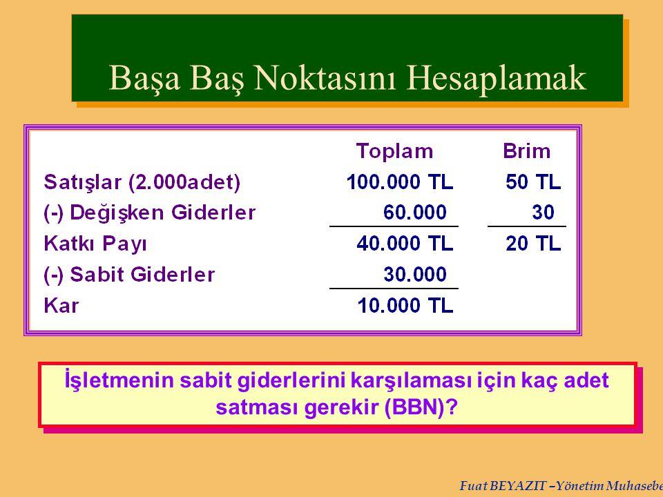 Fuat BEYAZIT –Yönetim Muhasebesi İşletmenin sabit giderlerini karşılaması için kaç adet satması gerekir (BBN)? Başa Baş Noktasını Hesaplamak