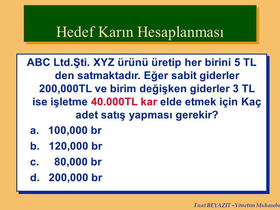 Fuat BEYAZIT –Yönetim Muhasebesi ABC Ltd.Şti. XYZ ürünü üretip her birini 5 TL den satmaktadır. Eğer sabit giderler 200,000TL ve birim değişken giderl