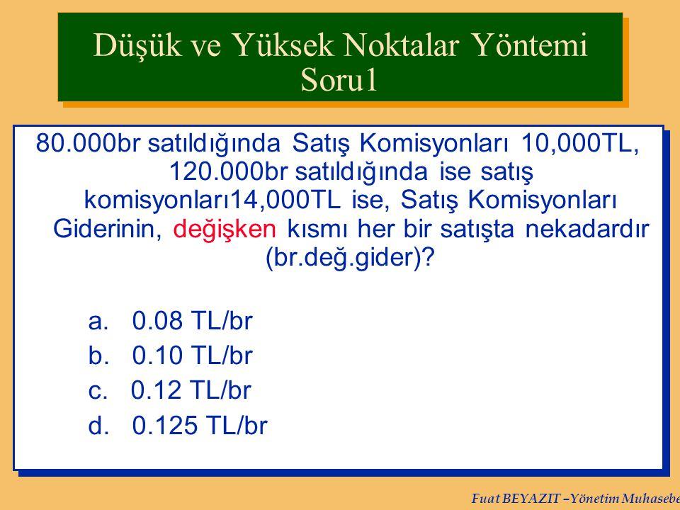 Fuat BEYAZIT –Yönetim Muhasebesi 80.000br satıldığında Satış Komisyonları 10,000TL, 120.000br satıldığında ise satış komisyonları14,000TL ise, Satış K