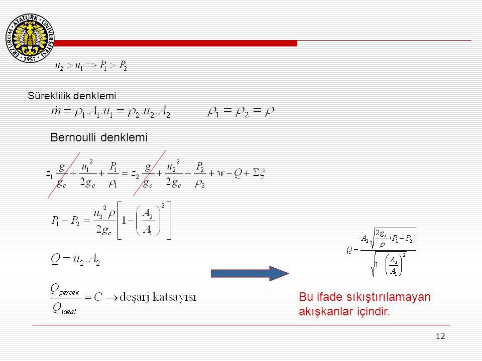 12 Süreklilik denklemi Bernoulli denklemi Bu ifade sıkıştırılamayan akışkanlar içindir.