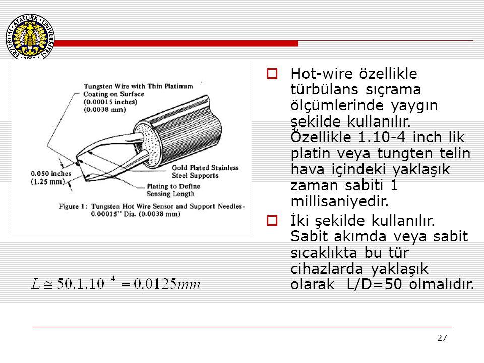 27  Hot-wire özellikle türbülans sıçrama ölçümlerinde yaygın şekilde kullanılır. Özellikle 1.10-4 inch lik platin veya tungten telin hava içindeki ya