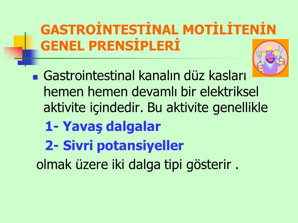 GASTROİNTESTİNAL MOTİLİTENİN GENEL PRENSİPLERİ Gastrointestinal kanalın düz kasları hemen hemen devamlı bir elektriksel aktivite içindedir.
