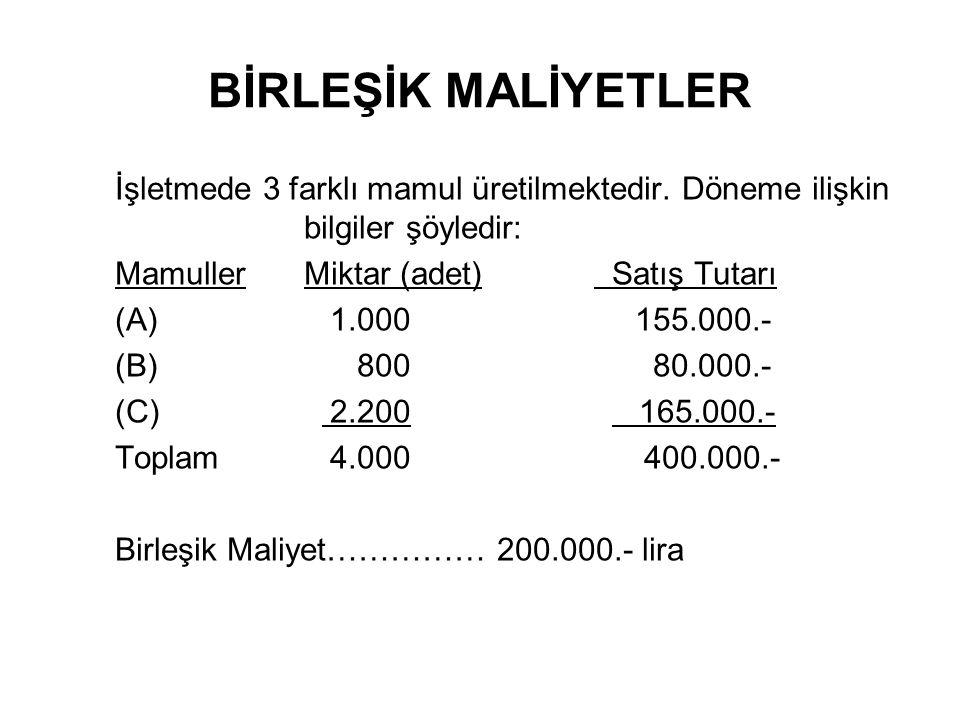 BİRLEŞİK MALİYETLER İşletmede 3 farklı mamul üretilmektedir. Döneme ilişkin bilgiler şöyledir: MamullerMiktar (adet) Satış Tutarı (A) 1.000155.000.- (
