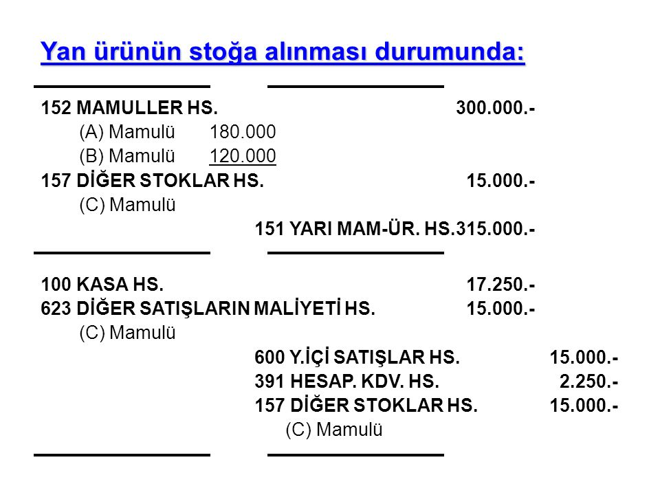 Yan ürünün stoğa alınması durumunda: 152 MAMULLER HS.300.000.- (A) Mamulü180.000 (B) Mamulü120.000 157 DİĞER STOKLAR HS. 15.000.- (C) Mamulü 151 YARI