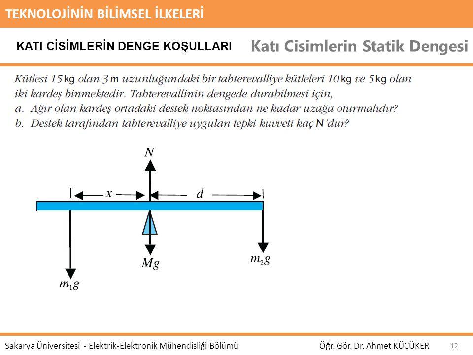TEKNOLOJİNİN BİLİMSEL İLKELERİ Katı Cisimlerin Statik Dengesi Öğr. Gör. Dr. Ahmet KÜÇÜKER Sakarya Üniversitesi - Elektrik-Elektronik Mühendisliği Bölü