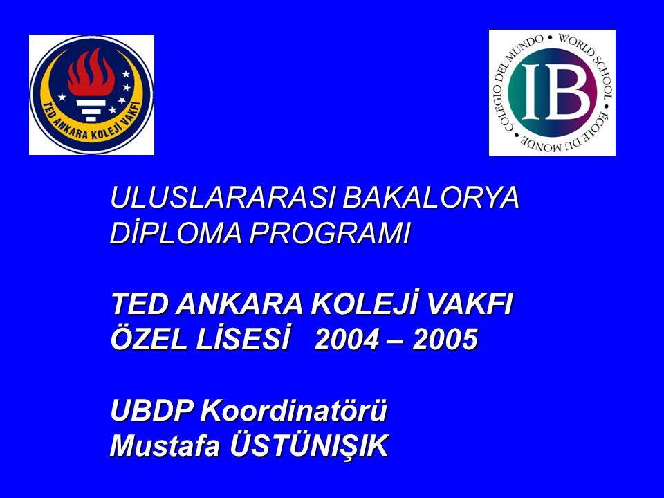 ULUSLARARASI BAKALORYA DİPLOMA PROGRAMI TED ANKARA KOLEJİ VAKFI ÖZEL LİSESİ 2004 – 2005 UBDP Koordinatörü Mustafa ÜSTÜNIŞIK