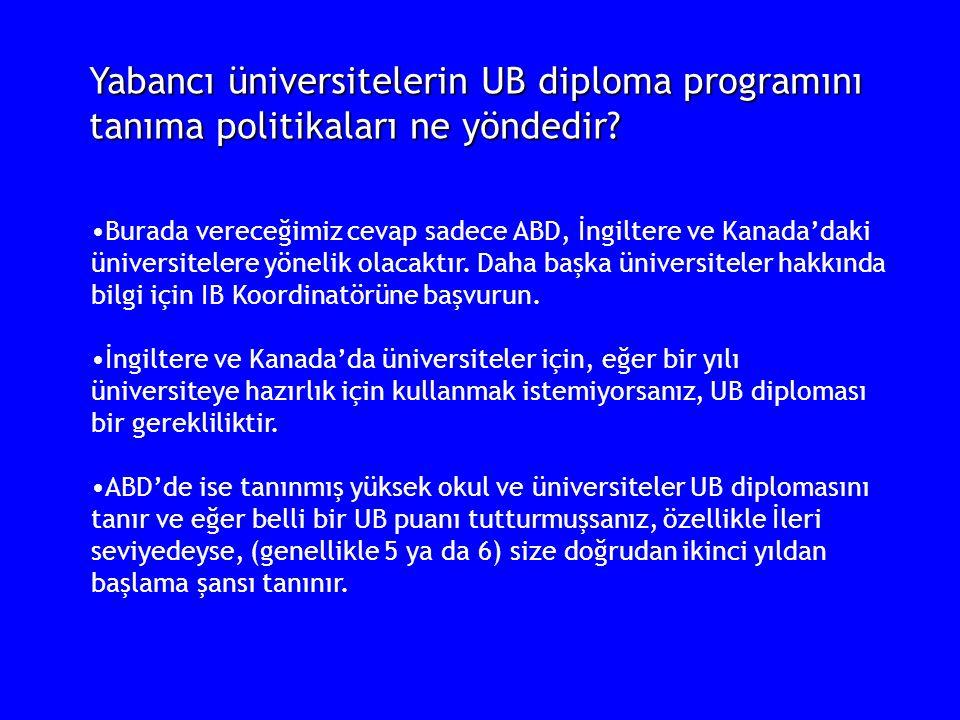 Yabancı üniversitelerin UB diploma programını tanıma politikaları ne yöndedir? Burada vereceğimiz cevap sadece ABD, İngiltere ve Kanada'daki üniversit