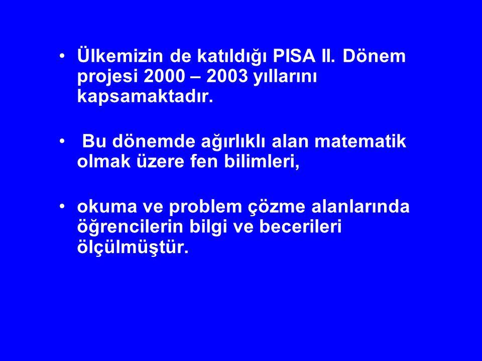 Ülkemizin de katıldığı PISA II. Dönem projesi 2000 – 2003 yıllarını kapsamaktadır. Bu dönemde ağırlıklı alan matematik olmak üzere fen bilimleri, okum