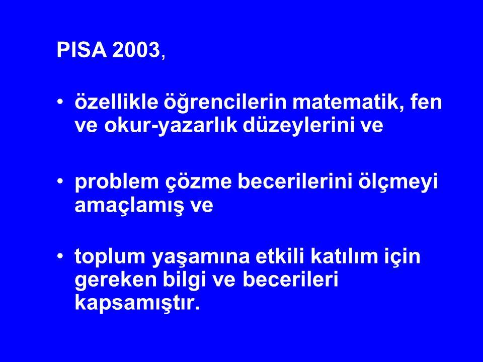 PISA 2003, özellikle öğrencilerin matematik, fen ve okur-yazarlık düzeylerini ve problem çözme becerilerini ölçmeyi amaçlamış ve toplum yaşamına etkil
