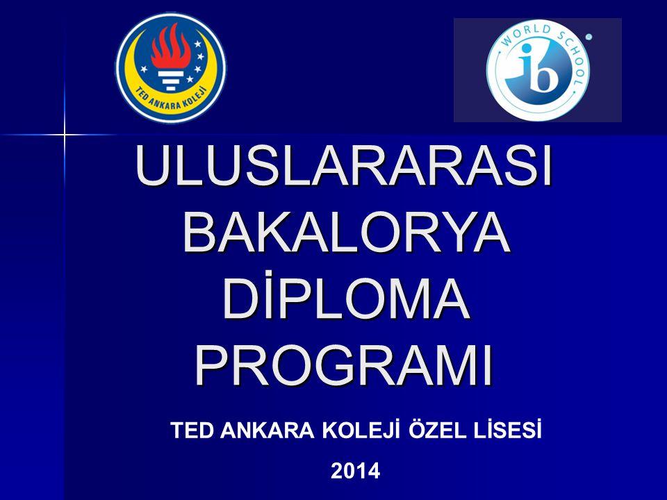 ULUSLARARASI BAKALORYA DİPLOMA PROGRAMI TED ANKARA KOLEJİ ÖZEL LİSESİ 2014