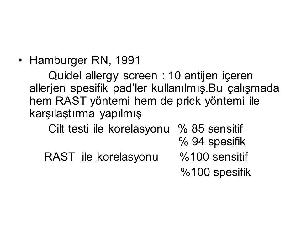 Hamburger RN, 1991 Quidel allergy screen : 10 antijen içeren allerjen spesifik pad'ler kullanılmış.Bu çalışmada hem RAST yöntemi hem de prick yöntemi