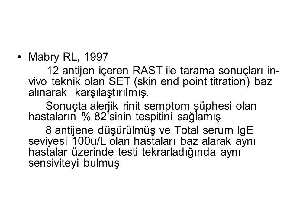 Mabry RL, 1997 12 antijen içeren RAST ile tarama sonuçları in- vivo teknik olan SET (skin end point titration) baz alınarak karşılaştırılmış. Sonuçta