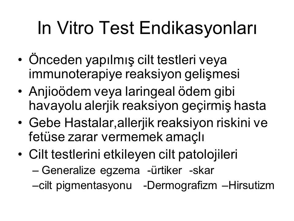 In Vitro Test Endikasyonları Önceden yapılmış cilt testleri veya immunoterapiye reaksiyon gelişmesi Anjioödem veya laringeal ödem gibi havayolu alerji