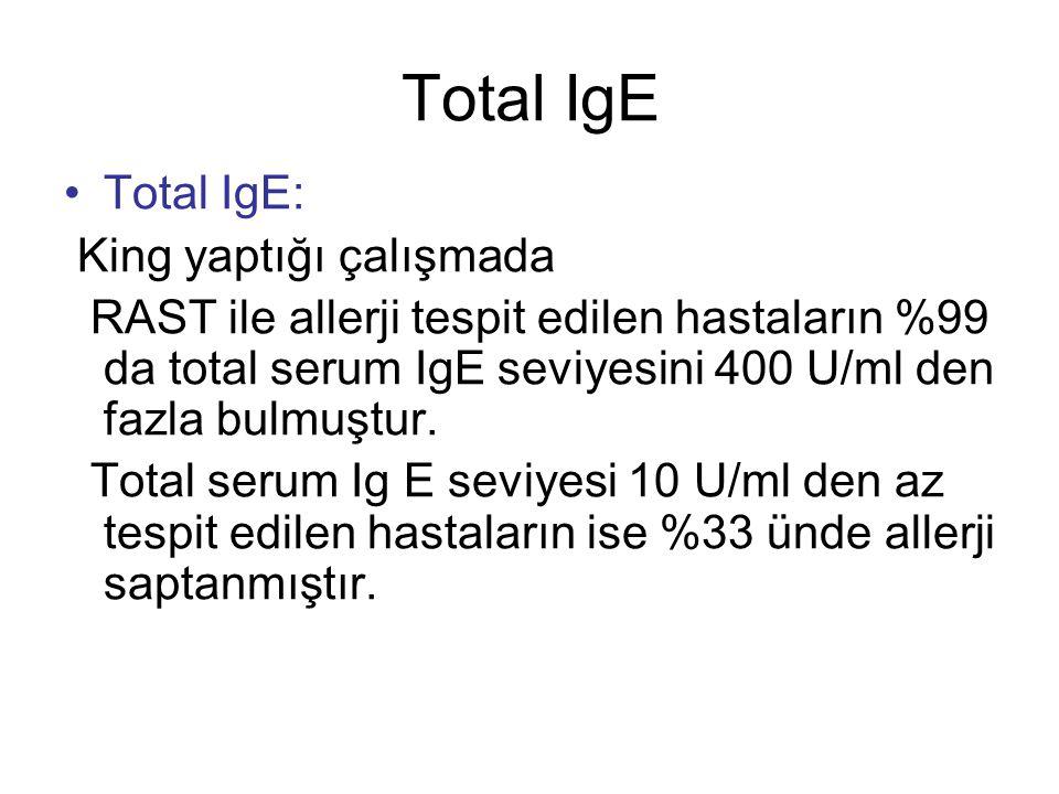 Total IgE Total IgE: King yaptığı çalışmada RAST ile allerji tespit edilen hastaların %99 da total serum IgE seviyesini 400 U/ml den fazla bulmuştur.