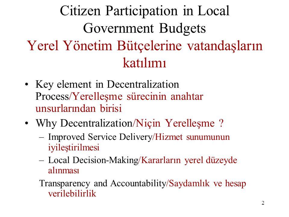 13 Citizen Participation in Local Government Budgets/Yerel Yönetim Bütçelerine Vatandaş Katılımı –Citizen Input to Strategic Planning / Stratejik Planlamaya Vatandaş Nasıl Girdi sağlayabilir .