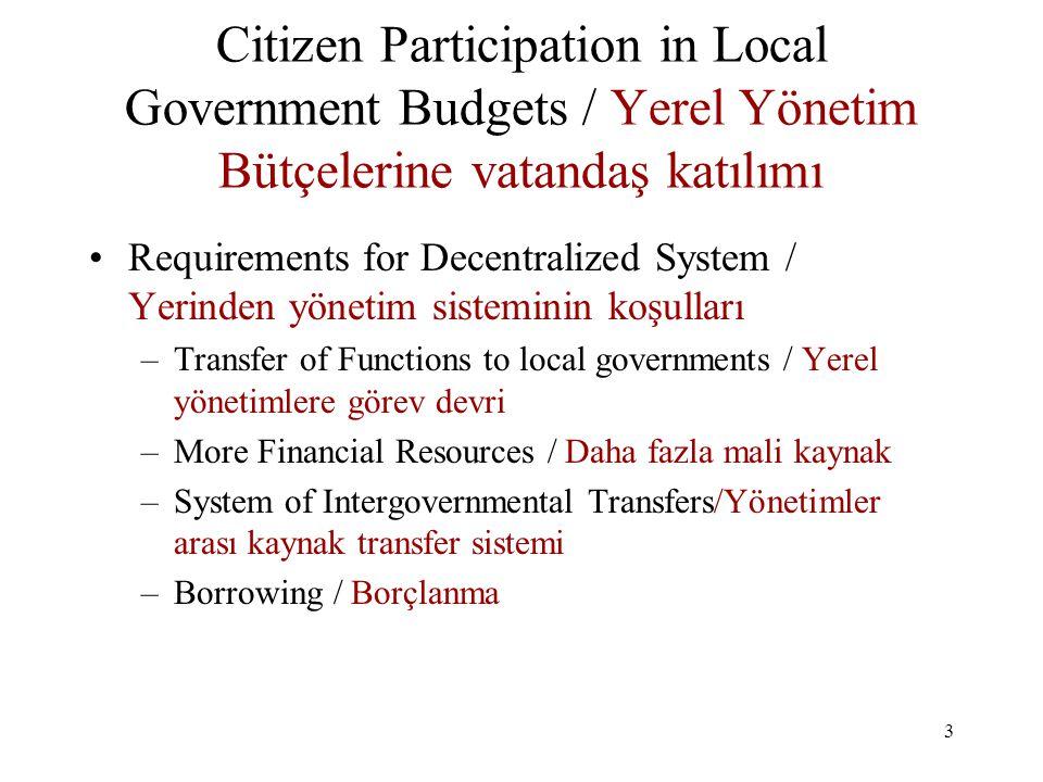 4 Citizen Participation in Local Government Budgets / Yerel Yönetim Bütçelerine Vatandaş Katılımı EU Standards/AB Standartları –Participation—Stakeholders Involvement/Katılım- Paydaşların işin içine katılması –Openness and Accountability—Full Disclosure/Saydamlık ve Hesap verilebilirlik-Kamuya tam bilgi verme –Effectiveness—Process provides for access/information/ Etkinlik – süreç bilgiye erişime imkan sağlar –Coordination—Feedback and Improvements in process/Koordinasyon – Geri besleme ve süreçte iyileştirme