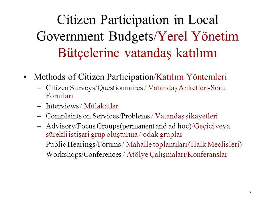 6 Citizen Participation in Local Government Budgets / Yerel Yönetim Bütçelerine Vatandaş Katılımı Pros of Citizen Participation / (Vatandaş Katılımının olumlu yanları) –Builds Confidence in Citizens / Vatandaş nezdine güven sağlanması –Allows for setting local priorities/needs / mahalli ihtiyaç ve öncelikerin tesbitine yardımcı olması –Builds Civic Culture/ Kent ve vatandaşlık kültürü yaratır –Provides for protection of rights/responsibilities/ Hakların ve sorumlulukların korunmasının sağlanması –Better resource allocation (investments)/yatırımlara ayrılan kaynakların daha iyi tahsisi