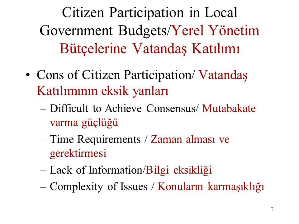 8 Citizen Participation in Local Government Budgets / Yerel Yönetim Bütçelerine Vatandaş Katılımı Methods to Overcome Obstacles / Güçlükleri aşma yöntemleri –Civic Education / Vatandaşın eğitimi –Public Awareness Campaigns / Halkın bilinç düzeyini ve farkındalığını yürütecek kampanyalar –Communication Strategies / İletişim stratejileri