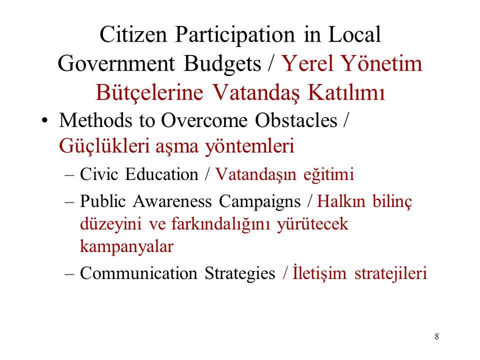 9 Citizen Participation in Local Government Budgets / Yerel Yönetim Bütçelerine Vatandaş Katılımı Steps in Participation Process / Katılım Sürecinin adımları –Preparation: / Hazırlık Define the Issue or Problem / Sorunun veya konunun tanımı Form Organizing Group (Key) / Organize edecek bir grubun kurulması (ÖNEMLİ) Plan and Schedule / Planlama ve zamanı programlama –Developing the Process:/ Sürecin Geliştirilmesi Define Different Methods / Farklı yöntemler tanımlayın Plan for Conduct of events/methods/ Eylem ve yöntemlerin yönetimi meselesini planlayın Prepare information to public/ Halka verilecek bilgiyi hazırlayın