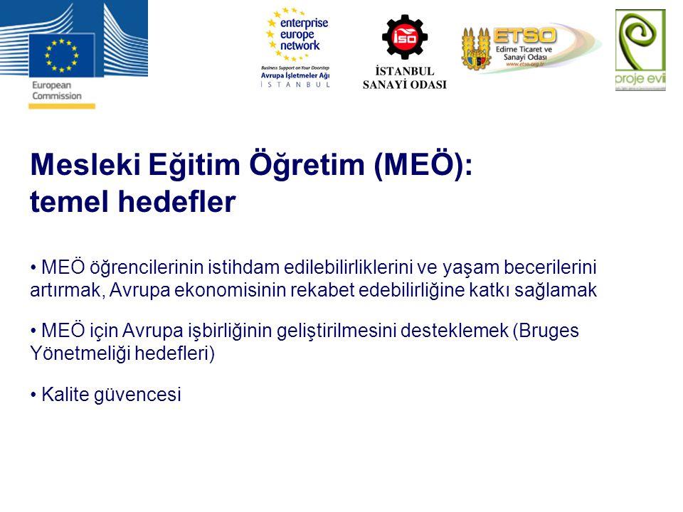 Mesleki Eğitim Öğretim (MEÖ): temel hedefler MEÖ öğrencilerinin istihdam edilebilirliklerini ve yaşam becerilerini artırmak, Avrupa ekonomisinin rekab