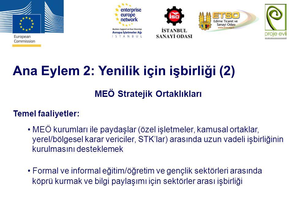 Ana Eylem 2: Yenilik için işbirliği (2) MEÖ Stratejik Ortaklıkları Temel faaliyetler: MEÖ kurumları ile paydaşlar (özel işletmeler, kamusal ortaklar,