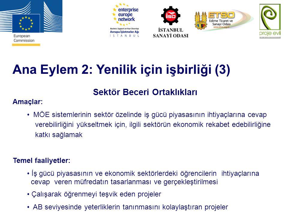 Ana Eylem 2: Yenilik için işbirliği (3) Sektör Beceri Ortaklıkları Amaçlar: MÖE sistemlerinin sektör özelinde iş gücü piyasasının ihtiyaçlarına cevap