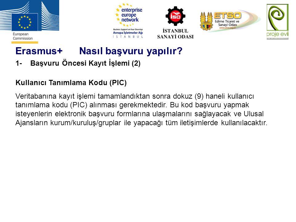 Erasmus+ Nasıl başvuru yapılır? 1- Başvuru Öncesi Kayıt İşlemi (2) Kullanıcı Tanımlama Kodu (PIC) Veritabanına kayıt işlemi tamamlandıktan sonra dokuz