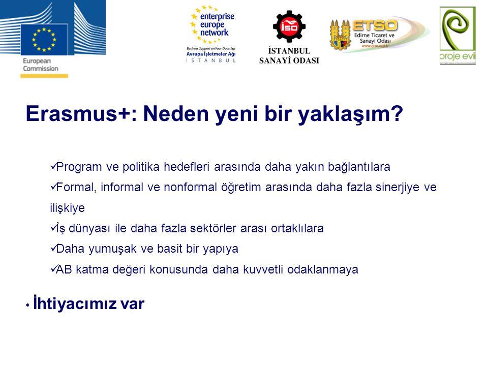 Erasmus+: Neden yeni bir yaklaşım? Program ve politika hedefleri arasında daha yakın bağlantılara Formal, informal ve nonformal öğretim arasında daha