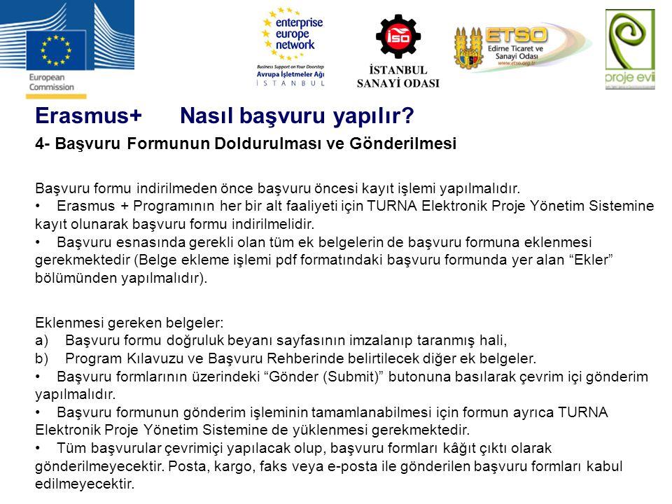 Erasmus+ Nasıl başvuru yapılır? 4- Başvuru Formunun Doldurulması ve Gönderilmesi Başvuru formu indirilmeden önce başvuru öncesi kayıt işlemi yapılmalı