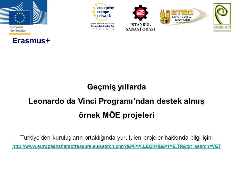 Erasmus+ Geçmiş yıllarda Leonardo da Vinci Programı'ndan destek almış örnek MÖE projeleri Türkiye'den kuruluşların ortaklığında yürütülen projeler hak
