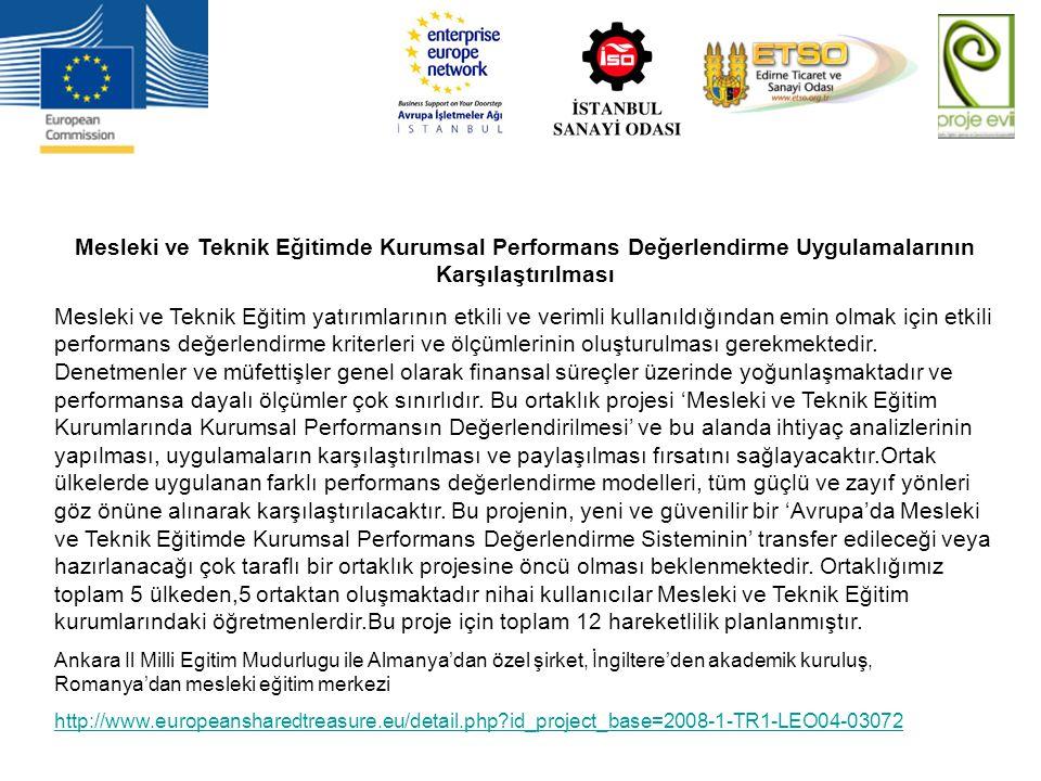 Mesleki ve Teknik Eğitimde Kurumsal Performans Değerlendirme Uygulamalarının Karşılaştırılması Mesleki ve Teknik Eğitim yatırımlarının etkili ve verim
