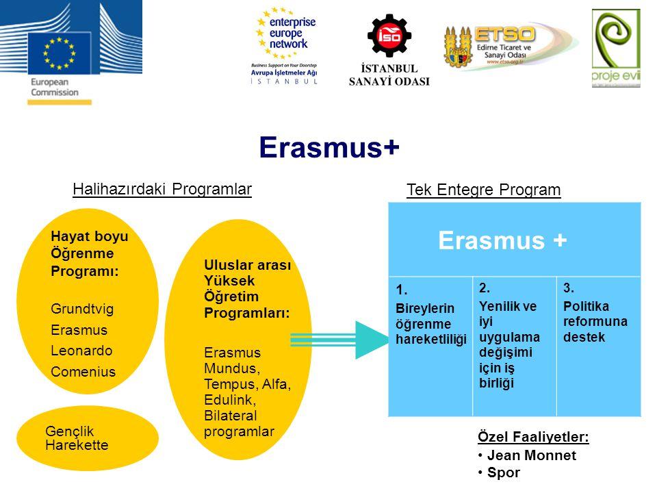 Erasmus+ Halihazırdaki Programlar Tek Entegre Program Hayat boyu Öğrenme Programı: Grundtvig Erasmus Leonardo Comenius Gençlik Harekette Uluslar arası