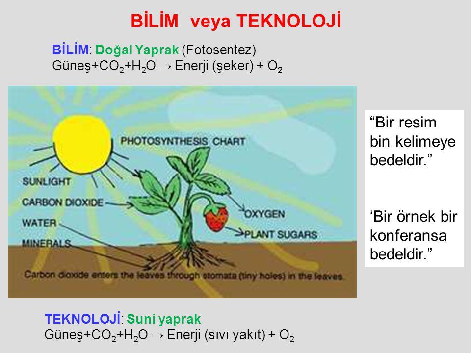 BİLİM veya TEKNOLOJİ TEKNOLOJİ: Suni yaprak Güneş+CO 2 +H 2 O → Enerji (sıvı yakıt) + O 2 BİLİM: Doğal Yaprak (Fotosentez) Güneş+CO 2 +H 2 O → Enerji