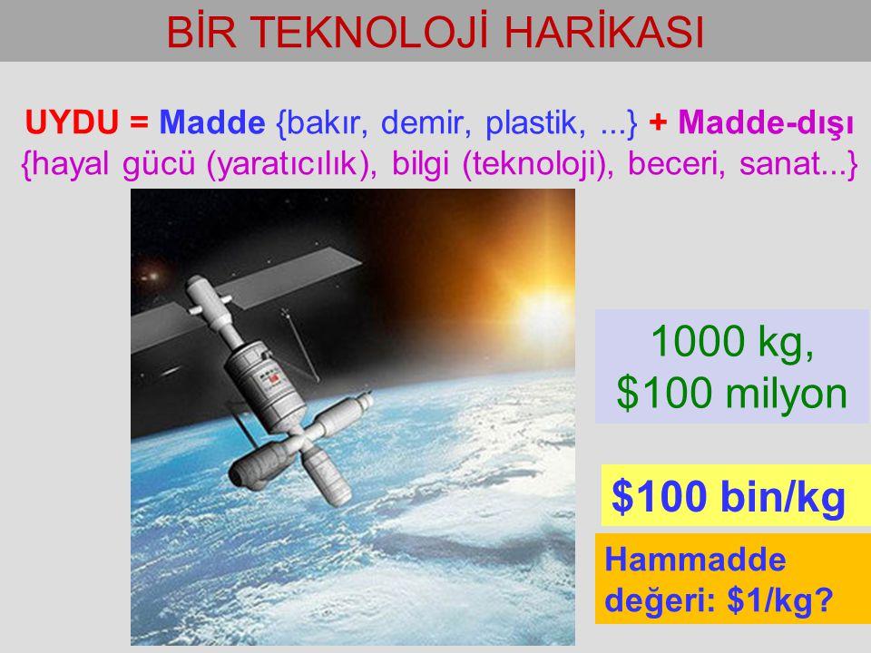 UYDU = Madde {bakır, demir, plastik,...} + Madde-dışı {hayal gücü (yaratıcılık), bilgi (teknoloji), beceri, sanat...} BİR TEKNOLOJİ HARİKASI $100 bin/