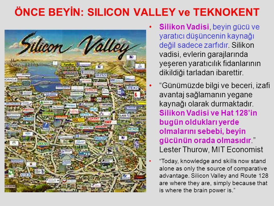 ÖNCE BEYİN: SILICON VALLEY ve TEKNOKENT Silikon Vadisi, beyin gücü ve yaratıcı düşüncenin kaynağı değil sadece zarfıdır. Silikon vadisi, evlerin garaj