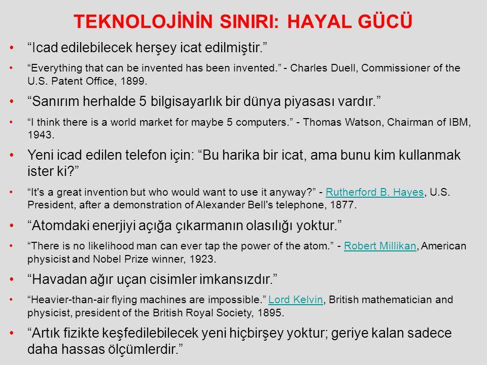 "TEKNOLOJİNİN SINIRI: HAYAL GÜCÜ ""Icad edilebilecek herşey icat edilmiştir."" ""Everything that can be invented has been invented."" - Charles Duell, Comm"