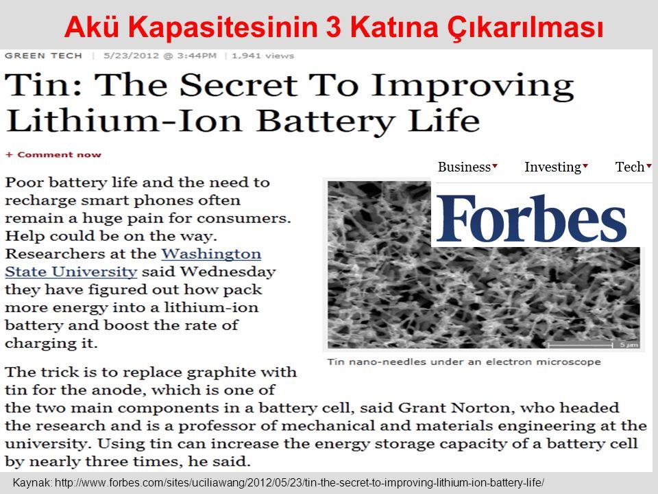 Akü Kapasitesinin 3 Katına Çıkarılması Kaynak: http://www.forbes.com/sites/uciliawang/2012/05/23/tin-the-secret-to-improving-lithium-ion-battery-life/