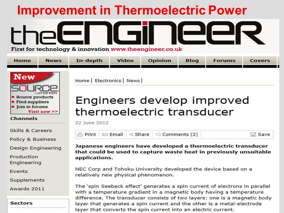Improvement in Thermoelectric Power