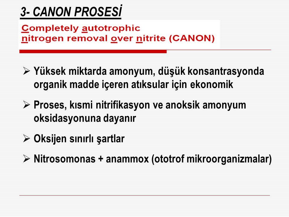 3- CANON PROSESİ  Yüksek miktarda amonyum, düşük konsantrasyonda organik madde içeren atıksular için ekonomik  Proses, kısmi nitrifikasyon ve anoksi